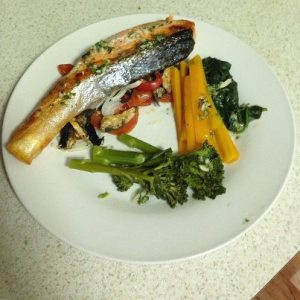 Tasty salmon and vegetables